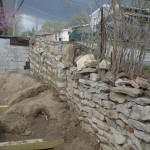 The ancient retaining wall holds up the alley behind our house.  Neighbors peak into our yard.