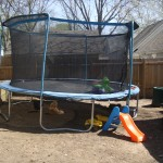 Trampoline is up! Takes up half the backyard but it's worth it!