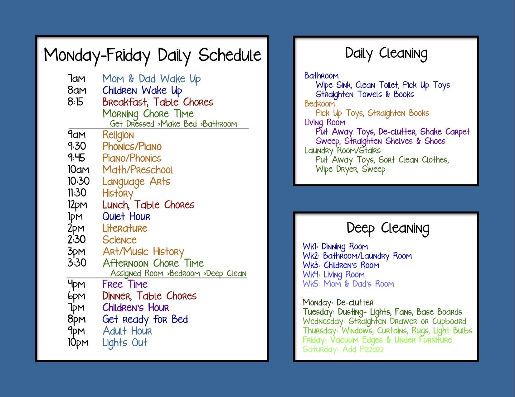 Homeschool Daily Schedule Kindergarten – Printable Editable Blank ...