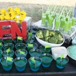 Green Socerer Side: Green & Blue layered jello, green oj, lego head pops,