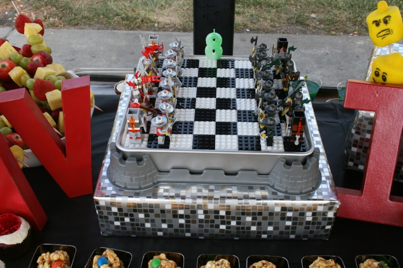Lego chess set cake!